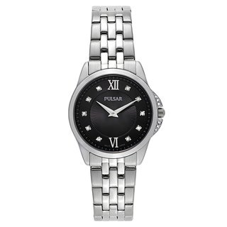 Pulsar Women's Night Out Stainless Steel Black Mineral Dial Japanese Quartz Movement Watch