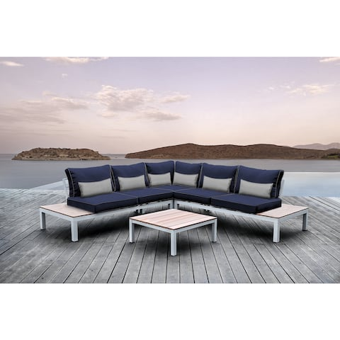 Solis Pulito 4-piece Deep Seated White Frame Modular Sectional Patio Set, with Navy Cushions, and Grey Toss Pillows