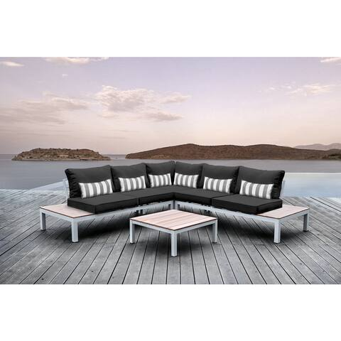 Solis Pulito 4-piece Deep Seated White Modular Sectional Patio Set, with Black Cushions, and Grey/ White Stripe Toss Pillows