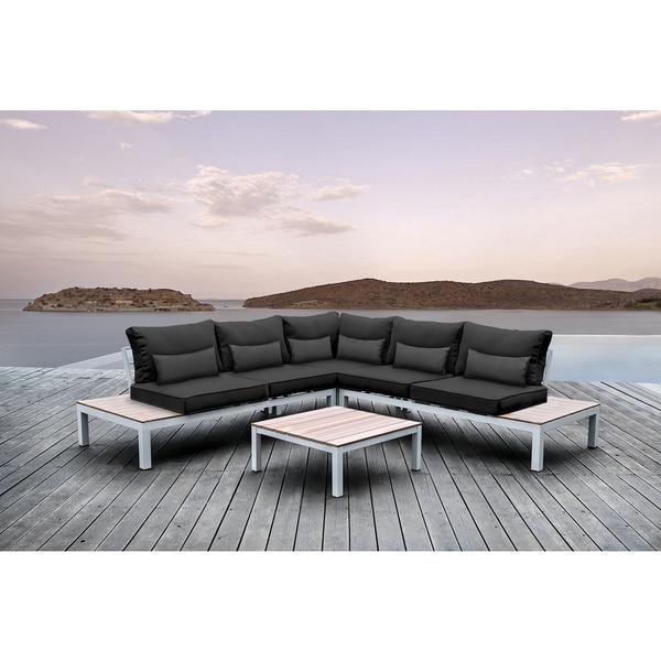 Shop SOLIS Pulito 4-piece Outdoor White Aluminum Deep ... on Safavieh Outdoor Living Granton 5 Pc Living Set id=65145
