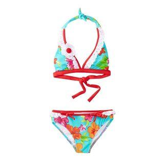 Azul Swimwear Girl's 'Totes Cute' Multicolor Polyamide and Spandex Halter Bikini