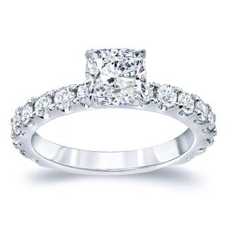 Auriya 14k Gold 2ct TDW Certified Cushion Cut Diamond Engagement Ring