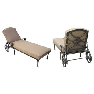 Darlee Ten Star Set of 2 Cast Aluminum Chaise Lounge with Sesame Cushions