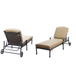 Darlee Camino Set of 2 Cast Aluminum Sesame Cushion Chaise Lounge
