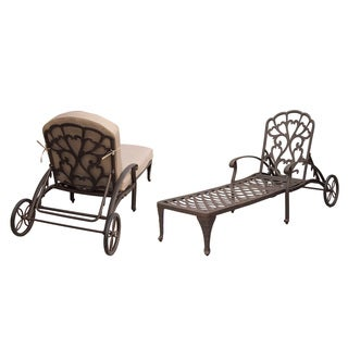 Darlee Catalina Set of 2 Cast Aluminum Chaise Lounge with Sesame Cushion