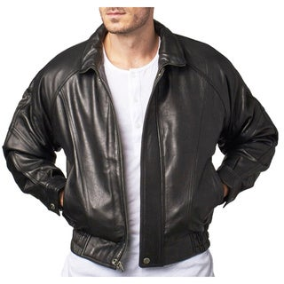 Men's Black Lamb Leather Bomber Jacket