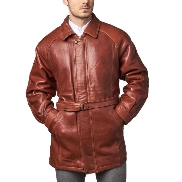 brown leather belted 34length coat