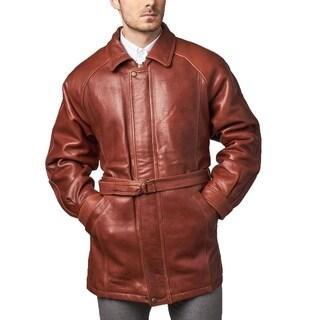 Men's Brown Leather Belted 3/4-length Coat