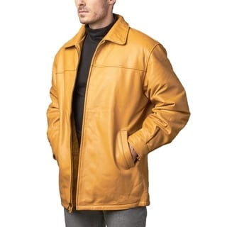 Men's Leather Tan Zip-up Jacket zip-out liner (Option: 46r)