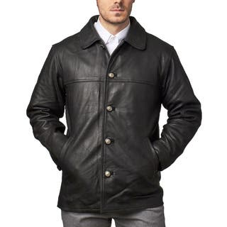 Men's Black Leather Button-down Car Coat|https://ak1.ostkcdn.com/images/products/13401413/P20097300.jpg?impolicy=medium