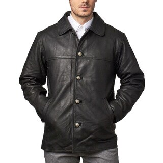 Men's Black Leather Button-down Car Coat