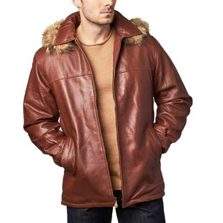 Men's Ranch Cognac Leather Hooded Coat