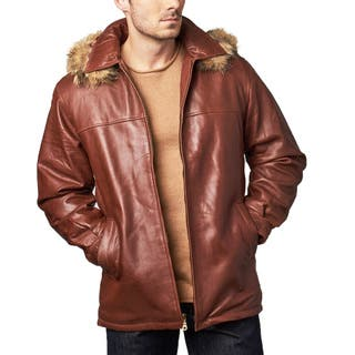 Men's Ranch Cognac Leather Hooded Coat|https://ak1.ostkcdn.com/images/products/13401433/P20097303.jpg?impolicy=medium
