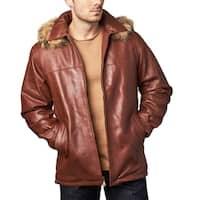 Men's Ranch Cognac Leather Hooded Coat