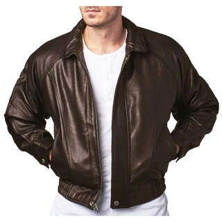 Men's Brown Lamb Leather Bomber Jacket with Zipout Liner