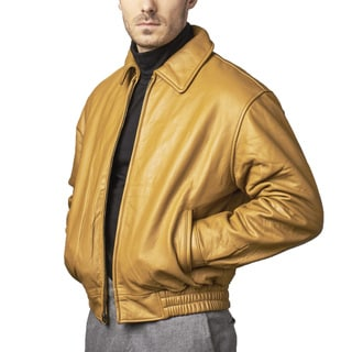 Men's Tan Leather Bomber Jacket