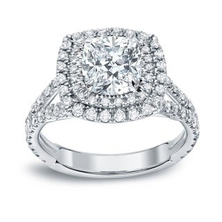 Auriya 18k Gold 2ct TDW Certified Cushion Cut Diamond Engagement Ring