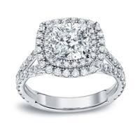 Auriya 18k Gold 2ct TDW Certified Cushion-Cut Halo Diamond Engagement Ring