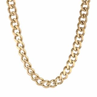 Gold Ion-Plated Stainless Steel Men's Curb Chain Necklace