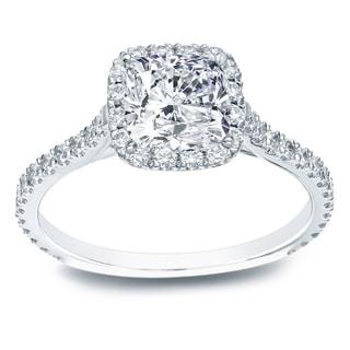 Auriya 14k Gold 1 1/2ct TDW Certified Cushion Cut Diamond Halo Engagement Ring