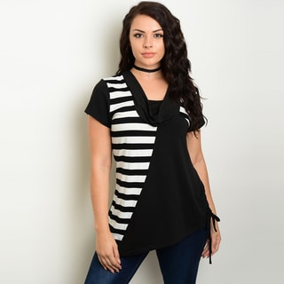 Shop The Trends Women's Plus-size Short-sleeve Cowl Neckline Knit Striped Top