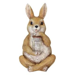 Exhart Solar Rabbit with Encased Fireflies LED Garden Statue