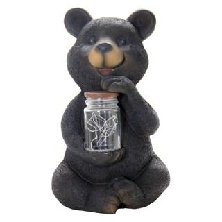 Exhart Bear With Fireflies Black Resin Solar Garden Statue
