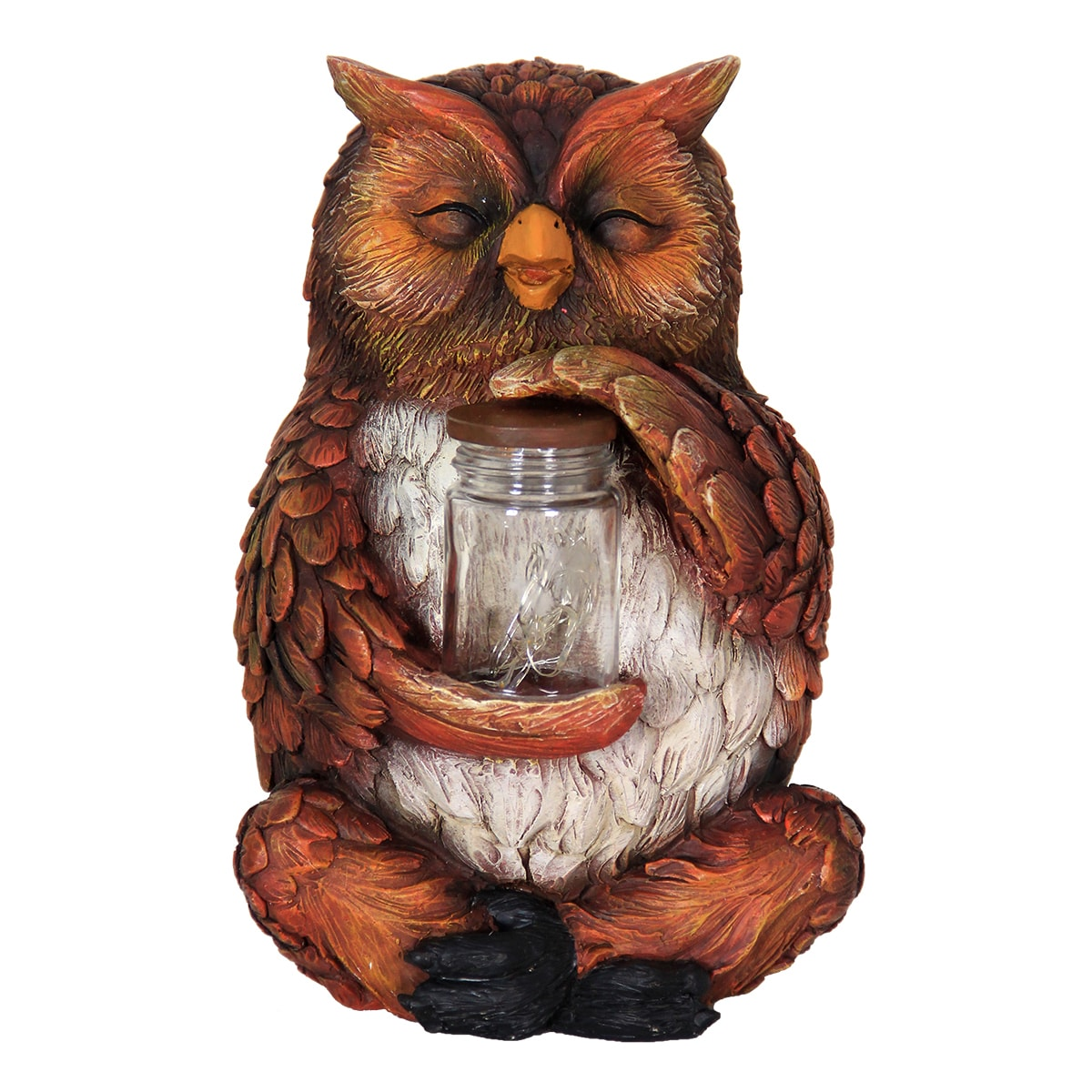 Exhart Brown Resin Solar-powered Owl with Encased Firefli...