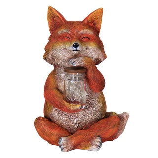 Exhart Orange/Multicolor Resin Hand-painted 11-inch Solar-powered Fox with Jar of Encased Fireflies Lighted Yard Sculpture