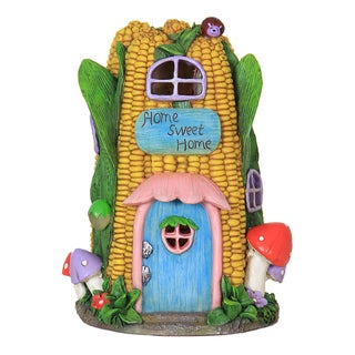 Exhart Corn House Multicolor Resin Solar Garden Statue