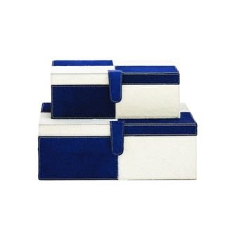 Benzara Navy Wood and Leather 14-inch 17-inch Wide Box (Set of 2)