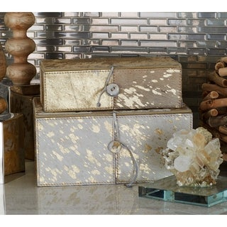 Benzara White and Gold Wood and Leather Decorative Boxes (Set of 2)