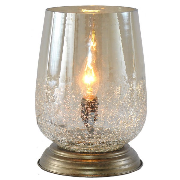 River of goods metallic smoke crackled glass 7 9 inch handblown accent table lamp
