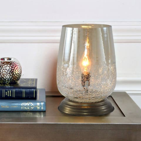 """River of Goods Metallic Smoke Crackled Glass 7.9-inch Handblown Accent Table Lamp - 5.5""""L x 5.5""""W x 7.9""""H"""