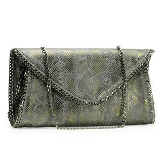 Jasbir Gill Women's Dark Grey and Gold Leather Magnet Clutch (India)