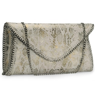 Jasbir Gill Women's White and Gold Leather Magnet Clutch (India)