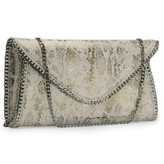 Handmade Jasbir Gill Women's White and Gold Leather Magnet Clutch (India) - One size