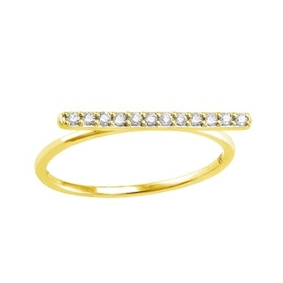 Beverly Hills Charm 10k yellow Gold 1/8ct TDW Diamond Bar Ring
