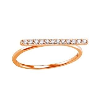 Beverly Hills Charm 10k Rose Gold 1/8ct TDW Diamond Bar Ring