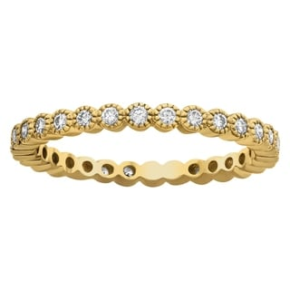 Beverly Hills Charm 10k Yellow Gold 1/2ct TDW Diamond Milgrain Eternity Wedding Band (H-I, I2-I3)