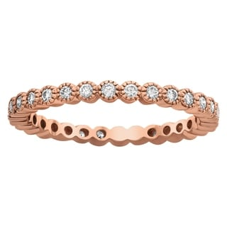 Beverly Hills Charm 10k Rose Gold 1/2ct TDW Diamond Milgrain Eternity Wedding Band (H-I, I2-I3)