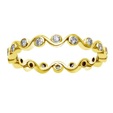 10k Yellow Gold 1/3ct TDW Diamond Eternity Band Ring by Beverly Hills Charm