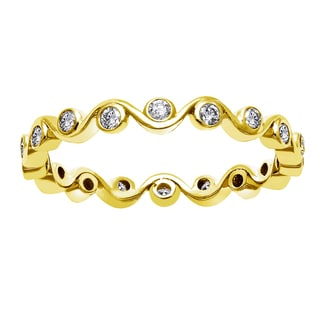 Beverly Hills Charm 10k Yellow Gold 1/3ct TDW Diamond Eternity Stackable Band