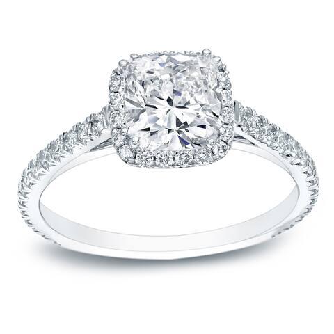 Auriya 14k Gold 1 3/4ctw Cushion-cut Halo Diamond Engagement Ring