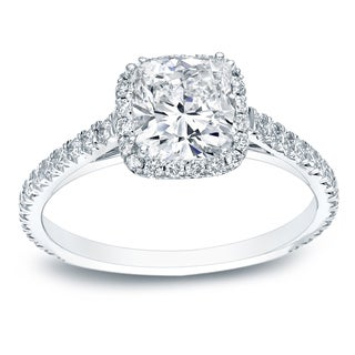 Auriya 14k Gold 1 3/4ct TDW Certified Cushion Cut Diamond Halo Engagement Ring (H-I, VS1-VS2)