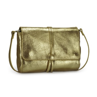 Jasbir Gill Women's Gold Leather Magnet Clutch (India)