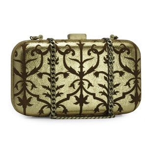 Jasbir Gill Women's Gold Leather Clasp Clutch (India)