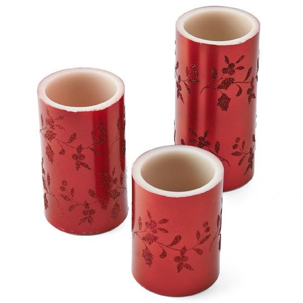 Pfaltzgraff Winterberry Red Wax Red LED Pillars (Pack of 3)