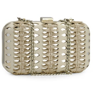 Jasbir Gill Women's White and Silver Leather Clasp Clutch (India)