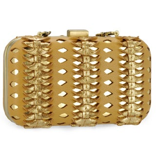 Jasbir Gill Women's Tan and Gold Leather Clasp Clutch (India)